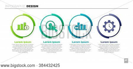 Set Pie Chart Infographic And Dollar, User Of Man In Business Suit, Pie Chart Infographic And Time M