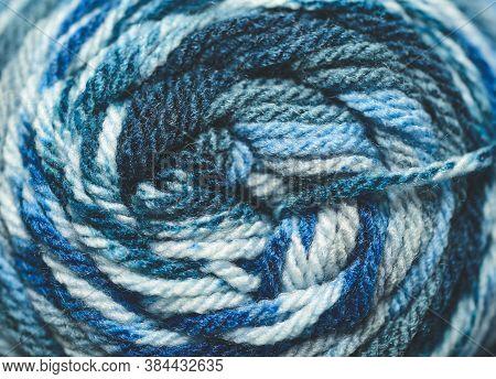 Macro Close Up Of Blue Worsted Yarn