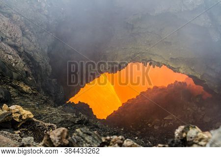 Eruption Of Volcano Tolbachik, Boiling Magma Flowing Through Lava Tubes Under The Layer Of Solid Lav
