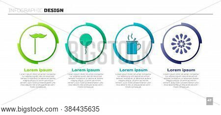 Set Paper Mustache On Stick, Balloon With Ribbon, Mulled Wine And Firework. Business Infographic Tem