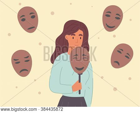 Woman Covering Her Face With Masks Expressing Various Emotions. Concept Of Changing Natural Personal