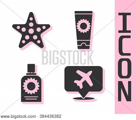 Set Speech Bubble With Airplane, Starfish, Sunscreen Spray Bottle And Sunscreen Cream In Tube Icon.