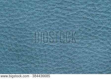 Texture Of Genuine Leather, Blue Color, Background, Surface. Manufacturing And Leather Industry Conc
