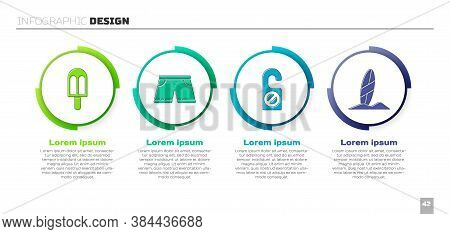 Set Ice Cream, Swimming Trunks, Please Do Not Disturb And Surfboard. Business Infographic Template.