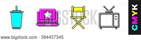 Set Paper Glass With Water, Laptop With Star, Director Movie Chair And Retro Tv Icon. Vector