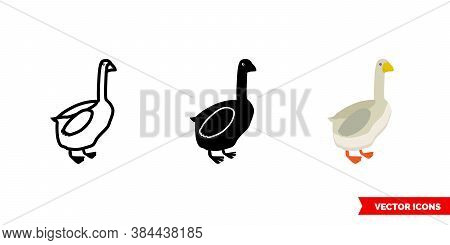 Goose Icon Of 3 Types Color, Black And White, Outline. Isolated Vector Sign Symbol.