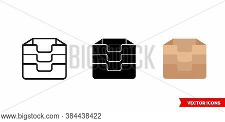 Inventory Archive Icon Of 3 Types Color, Black And White, Outline. Isolated Vector Sign Symbol.