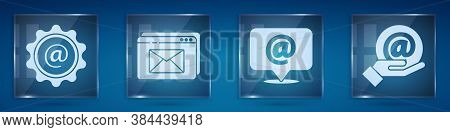 Set Mail And E-mail, Website And Envelope, Mail And E-mail And Mail And E-mail In Hand. Square Glass