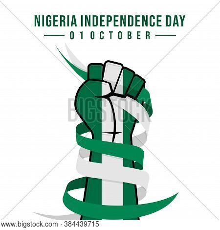 Nigeria Independence Day With Hand Colored Nigeria Flag And Ribbon Vector Illustration.