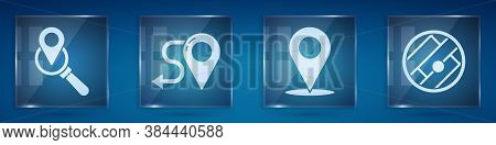 Set Search Location, Route Location, Location And Folded Map With Location. Square Glass Panels. Vec