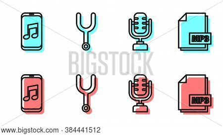 Set Line Microphone, Music Player, Musical Tuning Fork And Mp3 File Document Icon. Vector