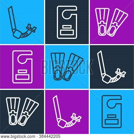 Set Line Snorkel, Rubber Flippers And Please Do Not Disturb Icon. Vector