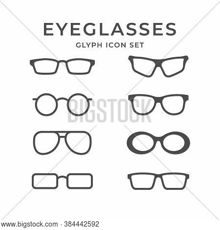 Set Glyph Icons Of Eyeglasses Isolated On White. Sunglasses, Spectacles Frame. Vector Illustration