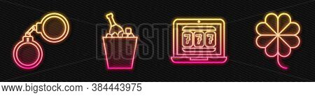 Set Line Laptop And Slot Machine, Handcuffs, Champagne In An Ice Bucket And Casino Slot Machine With