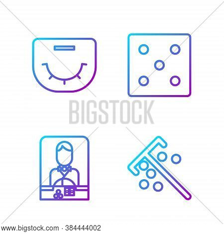 Set Line Stick For Chips, Casino Dealer, Poker Table And Game Dice. Gradient Color Icons. Vector