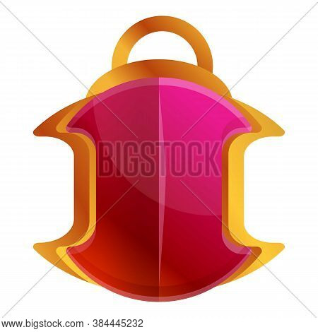 Gold Ruby Amulet Icon. Cartoon Of Gold Ruby Amulet Vector Icon For Web Design Isolated On White Back