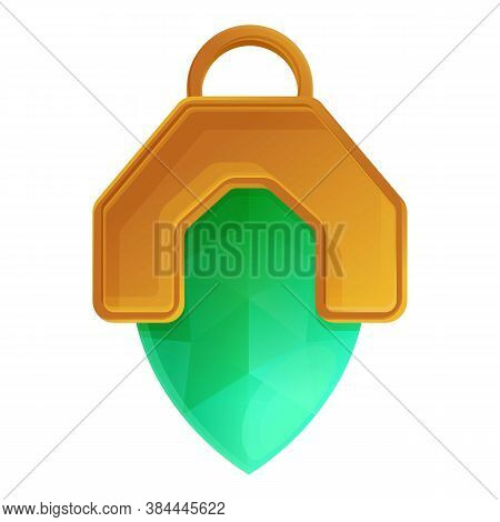 Green Emerald Amulet Icon. Cartoon Of Green Emerald Amulet Vector Icon For Web Design Isolated On Wh