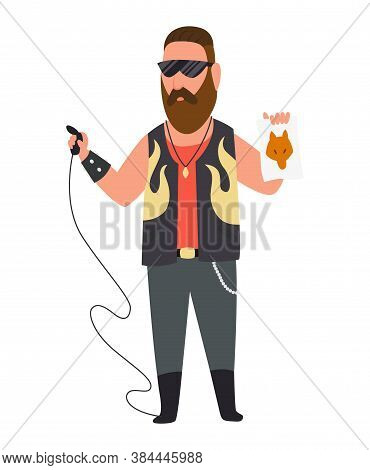 Character Tattoo Master Profession. Men Worker Occupation In The Uniform. Isolated Vector Illustrati