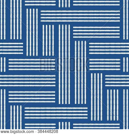 Abstract Seamless Pattern Of Lines With Texture. Imitation Of Seams And Threads.