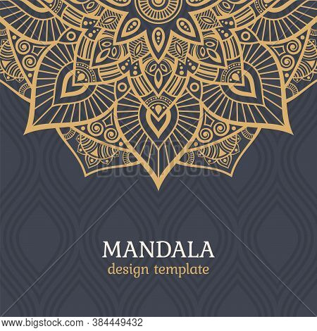 Greeting Card Or Invitation Template With Mandala Vector Color Illustration. Ethnic Mandala Decorati