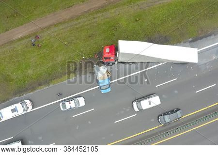 Moscow, Russia - June 24, 2020: Accident Involving A Truck With A Wagon And A Minivan. The Truck Dro