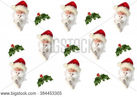 Santa Claus with Holly Leaf and Berries. Repeating Santa Claus Head Pattern.