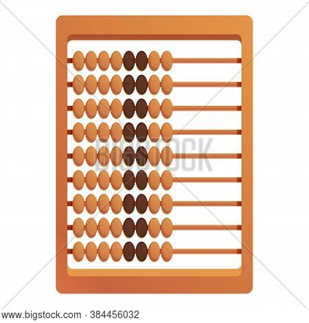 Math Abacus Icon. Cartoon Of Math Abacus Vector Icon For Web Design Isolated On White Background