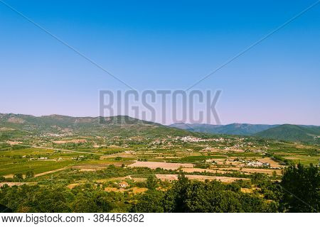Landscape Over The Green Plateau And Mountains In Monsanto, Portugal