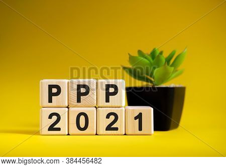 Ppp - Business Financial Concept On A Yellow Background. Wooden Cubes And Flower In A Pot.