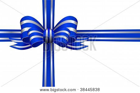 Blue and Silver Bow on a White Background