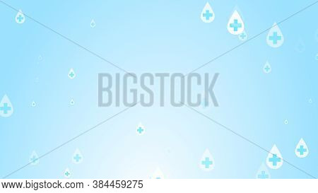 Medical Health Cross White On Blue Sanitizer Drop Pattern Background. Abstract Healthcare Clean And