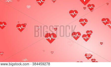 Medical Heart Beat Pulse Flat White On Red Hearts Pattern Background. Abstract Healthcare For World