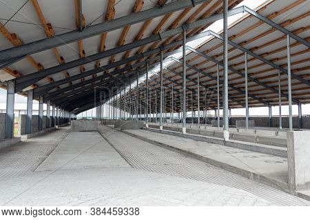 Metal Frame Of The Building With A Sandwich Panel Of Insulation On The Wall. Construction Of A New I