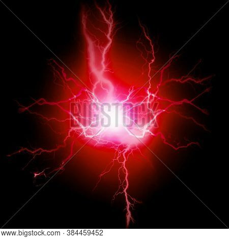 Exploding bolts of lightning electricity energy red pure power