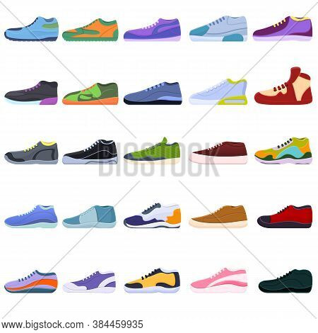 Sneakers Icons Set. Cartoon Set Of Sneakers Vector Icons For Web Design
