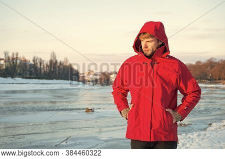 Pleasant Thoughts. Weather Forecast. Human And Nature. Man Walking Snowy Landscape In Sunset. Travel