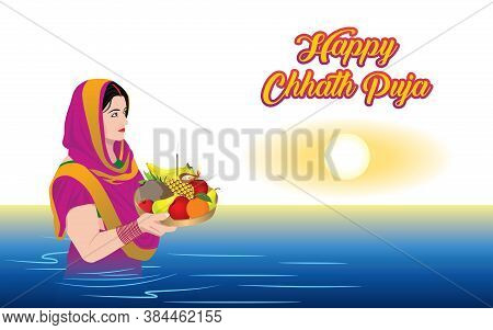 Happy Chhath Puja. Offer Prayers To The God Sun During The Hindu Religious Festival Chhath Puja.