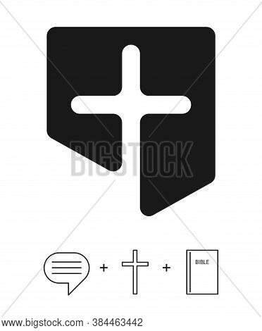 The Christian Logo Of The Church And Other Institutions Combines Three Concepts (icons) - Scripture