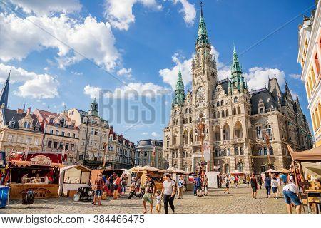 Fair Near Neo-renaissance Town Hall, Liberec, North Bohemia, Czech Republic, August 16, 2020.