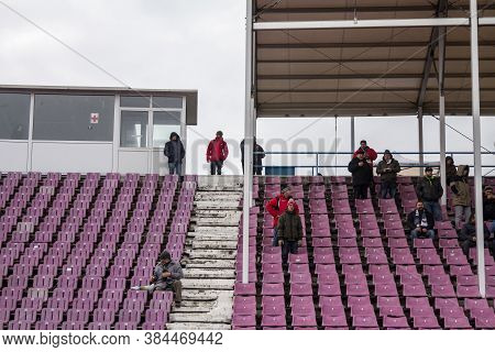 Timisoara, Romania - January 14, 2017: Supporters Leaving Halft Empty Seats And Tiers Of Dan Paltini