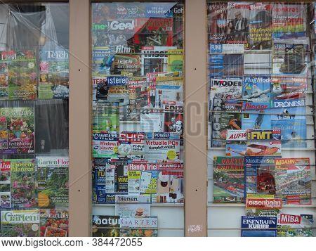 Kiosk Window With Various German Magazines In Trier, Rhineland-palatinate, Germany - September 1, 20