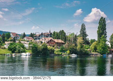 Cityscape Scenery And Swiss Village Culture At Stein Am Rhein City, Switzerland. Beautiful Nature Wa
