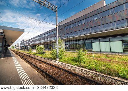 Train Station Platform In Urban Zurich City, Switzerland, Public Metro Transit And Infrastructure Of