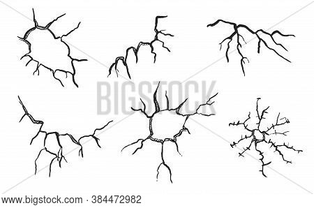 Cracked Glass. Surface With Vector Crack And Hole Illustration. Sketch Shattered Or Crushed Cracked