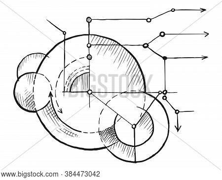Geometry Blueprint Sketch. Vector Engineering Technological Blueprint Background Illustration. Hand-