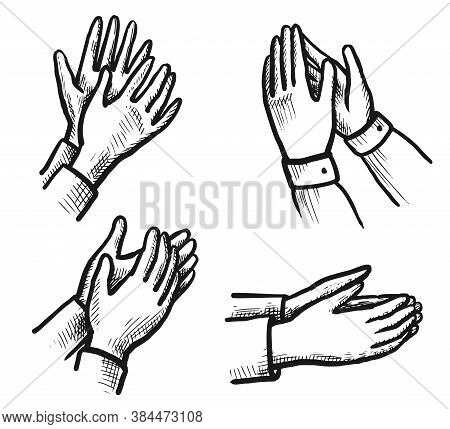 Ovation Sketch. Hand Drawn Applauding Clapping Hand Doodle Icon Set Isolated On White. Winner Applau