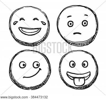 Scribble Smile. Hand Drawn Positive Emoji. Vector Doodle Emoticon Sketch Illustration. Scribble Smil