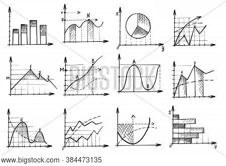 Business Graph Sketch. Doodle Business Management Infographics Element Vector Illustration. Hand Dra