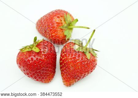 Fresh Strawberry Isolated On White Background. Heap Of Fresh Strawberries.