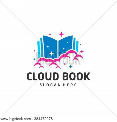 Cloud Book Logo Design Vector Template For Online Education, Library And Bookstore Concept Logo Vect